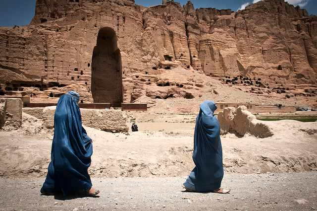 Two people from Afghanistan walking to the mines in search for lapis lazuli
